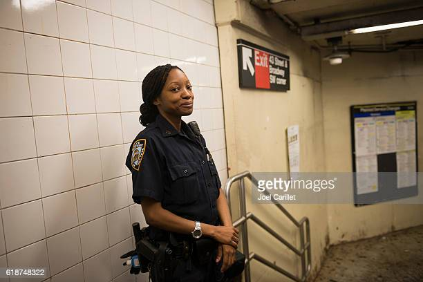 NYPD officer in Times Square subway station, New York