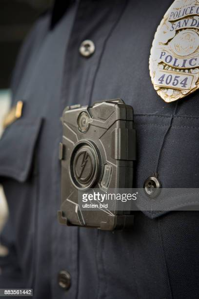 Officer of the San Diego Police Department wearing TASERs AXON bodycam