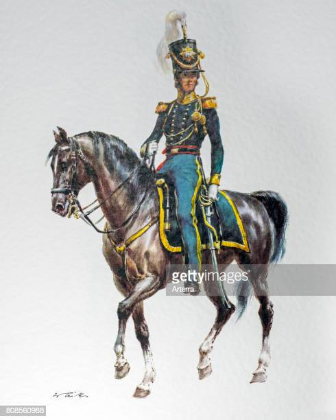 Officer on horseback in 1836 uniform of the United States Regiment of Dragoons