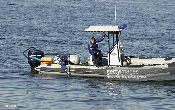 Officers aboard police boat continue the search for the flight data recorder of American Airlines Flight 587 in Jamaica Bay The Airbus A300 went down...