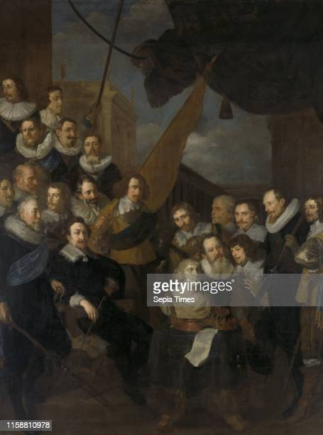 Officers and archers of district XIX, Amsterdam, The Netherlands, led by Captain Cornelis Bicker and Lieutenant Frederick van Banchem ready for the...