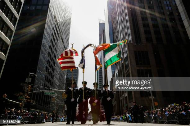 NYPD officers and Bagpipers march along 6av during the Annual Tartan Day Parade on April 7 2018 in New York City The Tartan day is a Scottish...