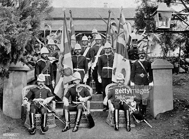 Officers and colours of the Duke of Wellington's Regiment, 1896. 2nd Battalion Duke of Wellington's Regiment at Pietermaritzburg, Natal, South...