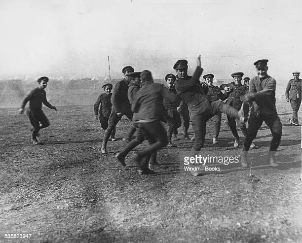Officers and men 26th Division Train. Football Christmas Day, Salonika, 1915.