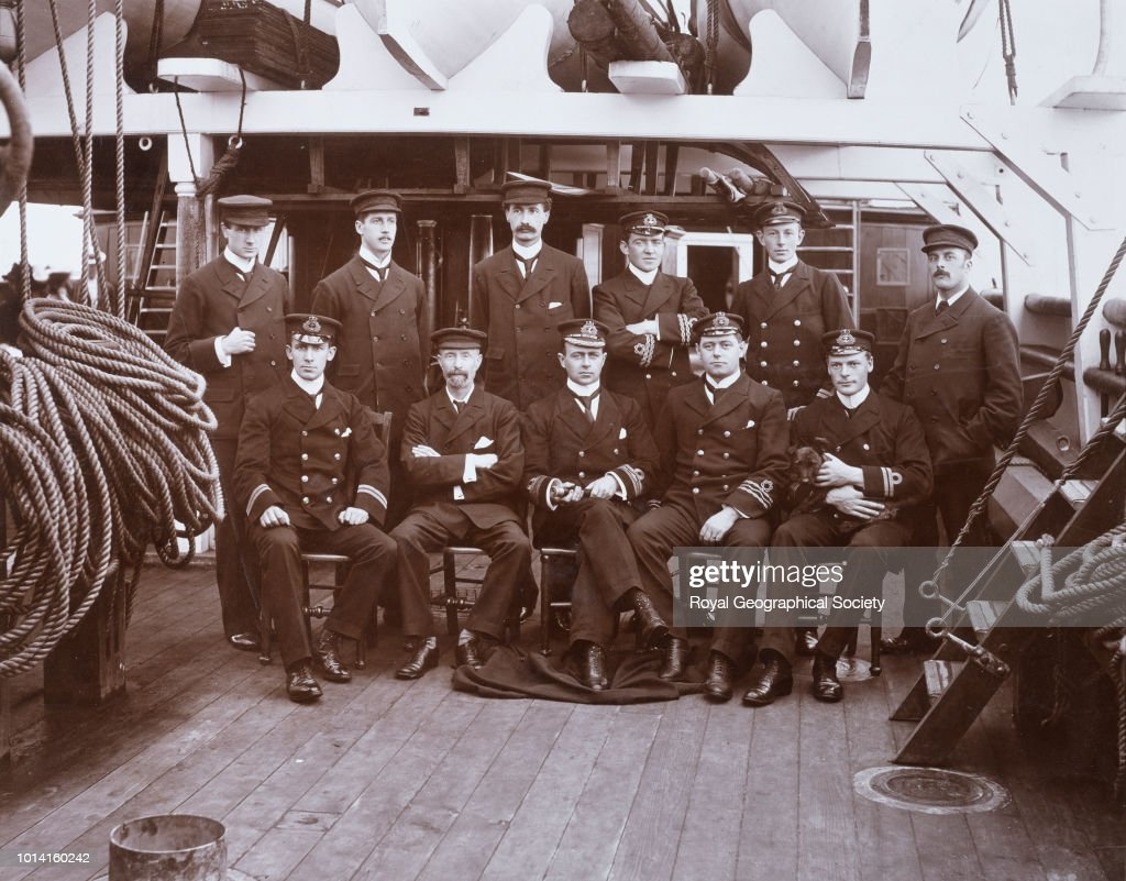 Officers and scientific staff of Discovery on deck before departure, United Kingdom, 1901. National Antarctic Expedition 1901-1904.