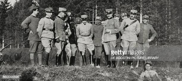 Officers and soldiers of the squadron who accompanied Gabriele d'Annunzio in his flight over Trento September 20 Italy World War I from...