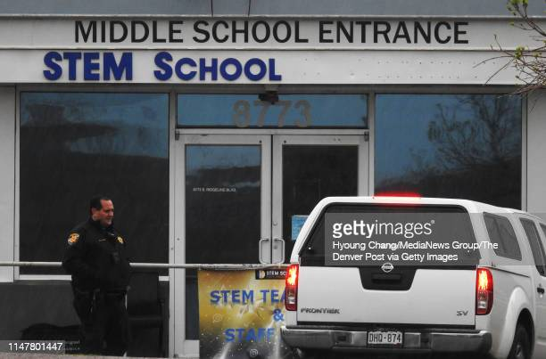 Officers are securing and investigating STEM School Highlands Ranch day after school shooting May 8 2019 People picks up their cars from the parking...