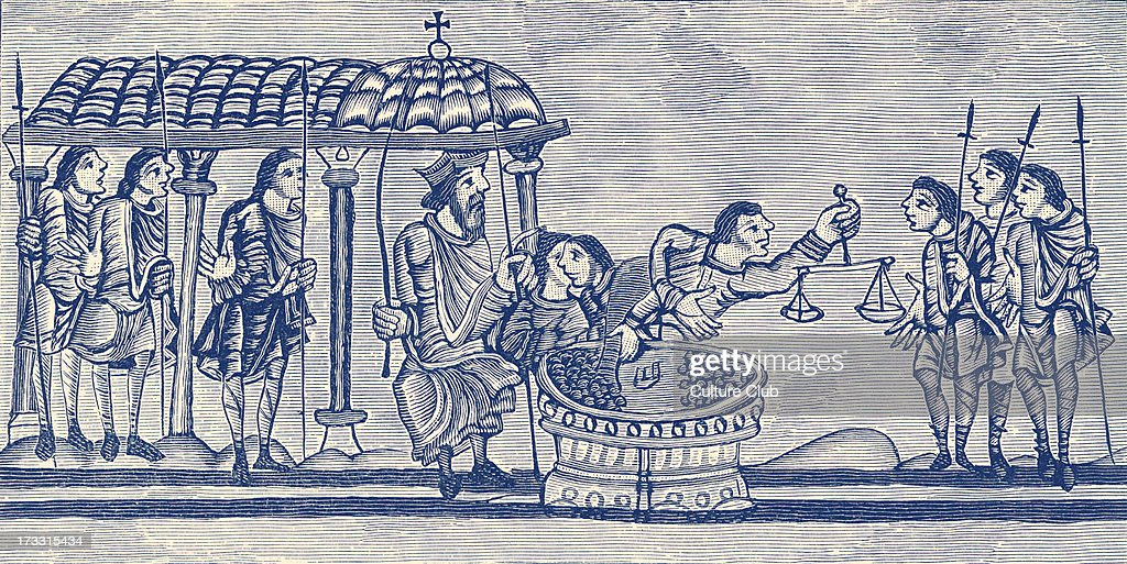 Officers at the Exchequer, 12th century England : News Photo