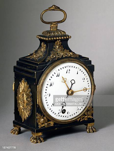 Officers' clock or Carriage clock with quarter hourly chimes perhaps Swiss production 19th century