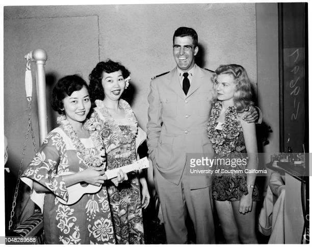 Officers club party 8 June 1952 Miss Pat ChingMiss Betty YoshidaLieutenant JG Jack LongMiss Faythe AinsworthMiss Mona BurnettCaptain Arnold P...