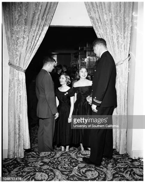 Officer's Club party Ambassador Hotel 13 January 1952 Lieutenant Dick FrenchAir Force Captain Budd ButcherMiss Diana FarrarMiss Bunny SchuttenMiss...