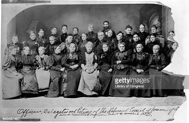 Officers delegates and patrons of the National Council of Women of the US in 1895 Susan B Anthony is third from front right seated