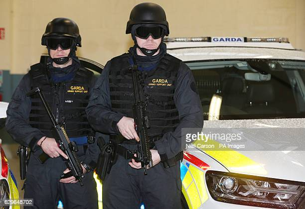 Officers display their new cars and equipment as An Garda Siochana launches a new Armed Support Unit for the Dublin region at Garda Head Quarters in...