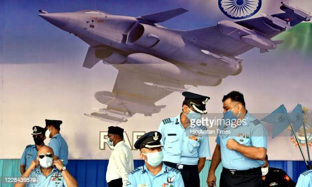 Officers during Rafales induction ceremony, at IAF airbase on September 10, 2020 in Ambala, India. The aircraft will be part of 17 Squadron, the...