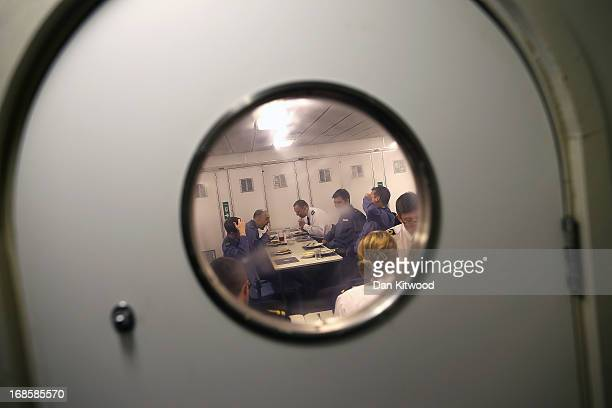 Officers eat their meals on HMS Illustrious which is currently docked in Greenwich on May 10 2013 in London England HMS Illustrious or 'Lusty' as it...