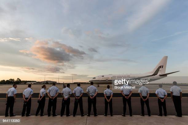 Officers farewell Prince Charles The Prince of Wales on April 10 2018 in Darwin Australia The Prince of Wales and Duchess of Cornwall are on a...