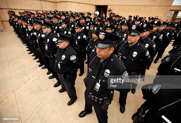 Officers fill the Cathedral of Our Lady of the Angels fro teh funeral of Los Angeles Police Dept. Motor officer Chris Cortijo April 22, 2014 in Los...