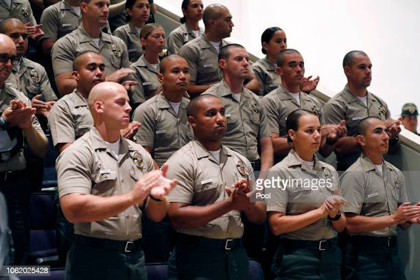 Officers from a variety of agencies fill Calvary Community Church in Westlake Village for a memorial service for Ventura County Sheriff Sgt Ron Helus...