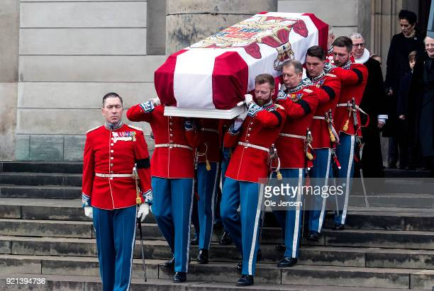 Officers from the Royal Guard carry the coffin of Prince Henrik the husband of Queen Margrethe of Denmark from Christiansborg Palace Church to the...