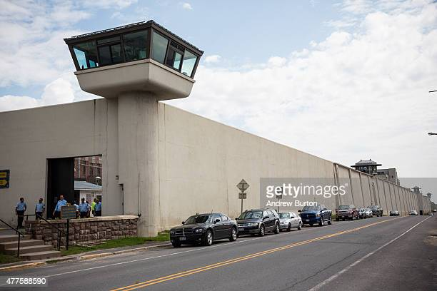 Officers gather at Clinton Correctional Facility on June 18, 2015 in Dannemora, New York. After conducting a manhunt across approximately 10,000...