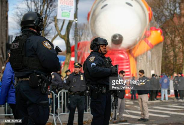 NYPD officers guard before the annual Macy's Thanksgiving parade on November 28 2019 in New York City