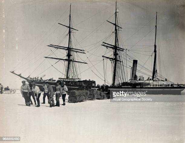 Officers hauling sledges of fodder from the Terra Nova to Cape Evans Antarctica 1911 British Antarctic Expedition 19101913