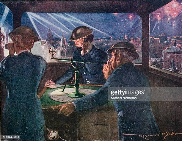 ARP officers in an observation post during the Blitz reporting on fires probably caused by incediary bombs The officer on the right is using a sight...