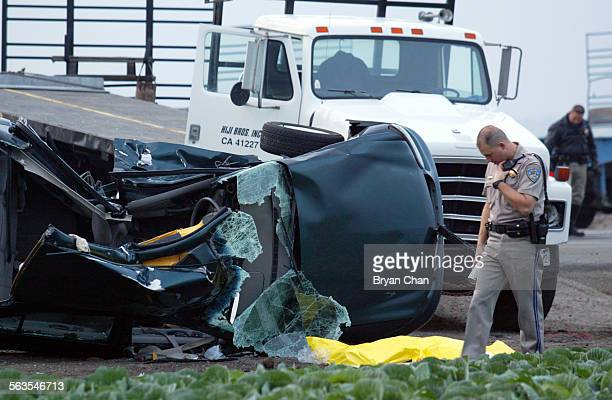 CHP officers investigate after 21–year old woman was killed and her two passengers seriously injured Friday afternoon when her Chevy Malibu was...