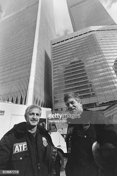 Officers Malcolm Brady and Daniel Boeh from the Bureau of Alcohol Tobacco Firearms and Explosives at the World Trade Center days after a truck bomb...