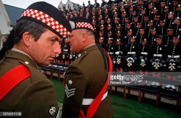 Officers of the Argyll and Sutherland Highlanders a Scots regiment of the British Army rehearse the official portrait with Queen Elizabeth the next...