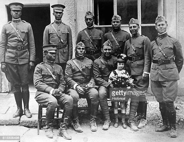 """Officers of the """"Buffalos,"""" 367th Infantry, 92nd Division in France, ca. 1918."""