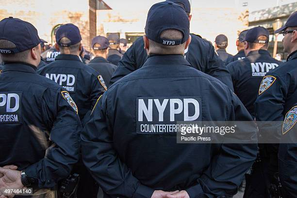 S ISLAND NEW YORK NY UNITED STATES NYPD officers of the Critical Response Command stand at ease as they listen to Mayor de Blasio address them at the...