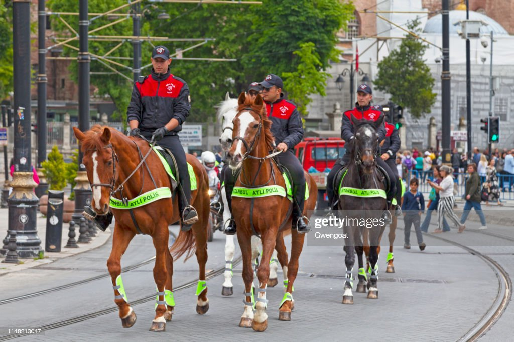 Officers of the Istanbul Equestrian Police on their horses : Stock Photo
