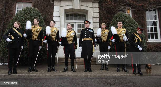 Officers of the King's Troop Royal Horse Artillery pose for a photograph in front of the Officer's Mess before departing their North London barracks...