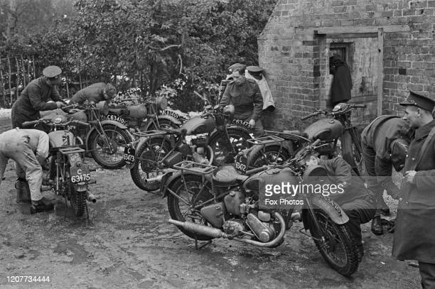 Officers of the Royal Army Service Corps inspecting a number of military motorcycles in Ramsgate Kent England circa 1940 The RASC is responsible for...