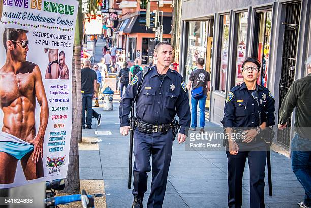 Officers patrol Castro Street on June 18 in San Francisco CA United States Following the Orlando shooting San Francisco Police vow to an increased...