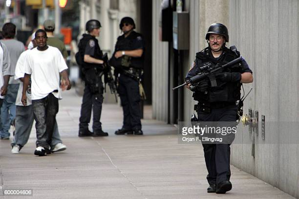 NYPD officers patrol the area outside an office tower belonging to Citigroup at 53rd and Park AvenueThe Department of Homeland Security warned of...