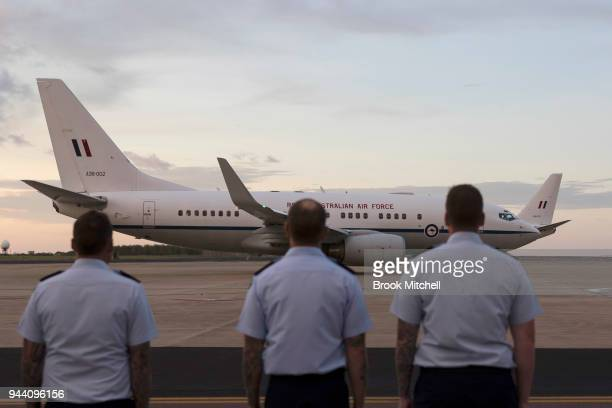 RAAF officers see off Prince Charles The Prince of Wales on April 10 2018 in Darwin Australia The Prince of Wales and Duchess of Cornwall are on a...