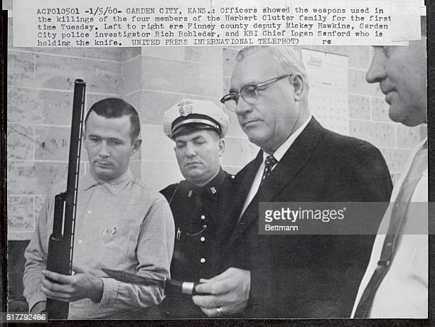 Officers showed the weapons used in the killings of the four members of the Herbert Clutter family for the first time Tuesday Left to right are...