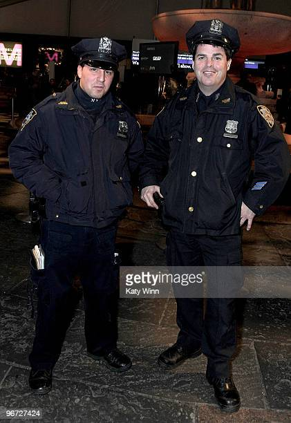 NYPD officers Thomas Lazarus and Tom Coffey attend MercedesBenz Fashion Week at Bryant Park on February 15 2010 in New York City