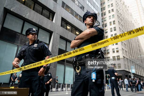 Officers work the scene where there were reports of a suspicious package near the Fulton Street subway station in Lower Manhattan on August 16, 2019...