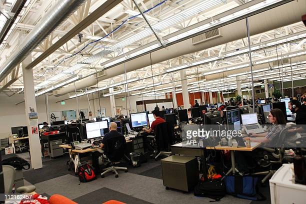 Offices at Facebook headquarters in Palo Alto, CA on Wednesday, April 13, 2011. AFP PHOTO / Ryan Anson