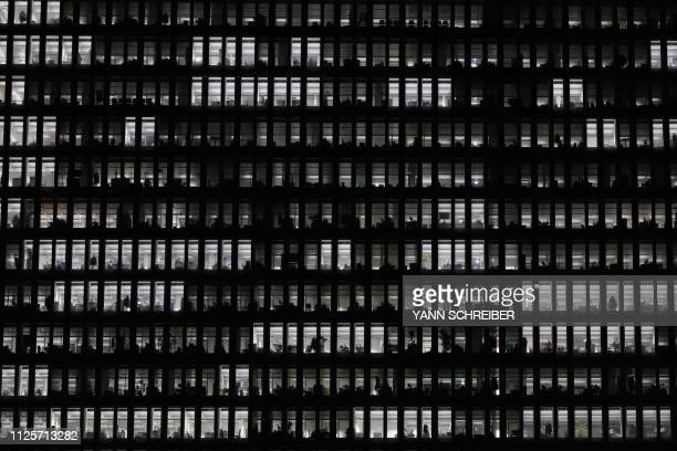 TOPSHOT Offices in the European Central Bank headquarter are pictured on February 19 2019 in Frankfurt am Main western Germany