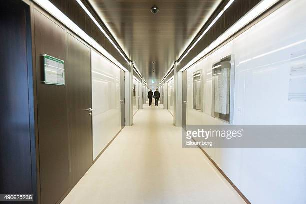 Offices line a corridor inside the Bundesbank Germany's central bank in Frankfurt Germany on Tuesday Sept 29 2015 German business confidence...