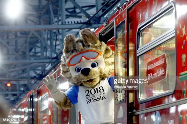 Official 2018 FIFA World Cup Russia mascot greets the people from a train during the unveiling of the 2018 FIFA World Cup Russia Official Poster in...