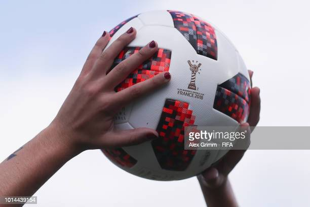 Official adidas match ball Telstar during the FIFA U20 Women s World Cup  France 2018 group C 10c614e1c