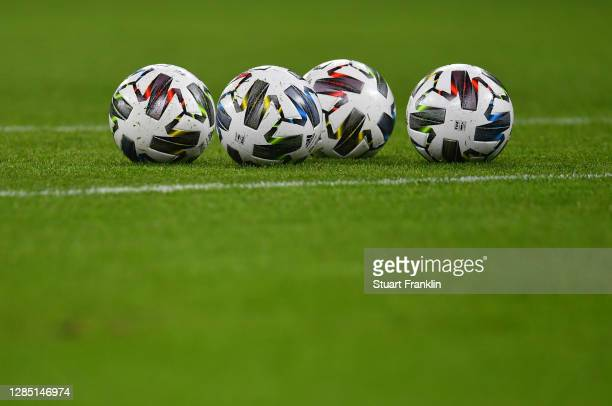 Official adidas match balls are seen prior to the international friendly match between Germany and Czech Republic at Red Bull Arena on November 11,...