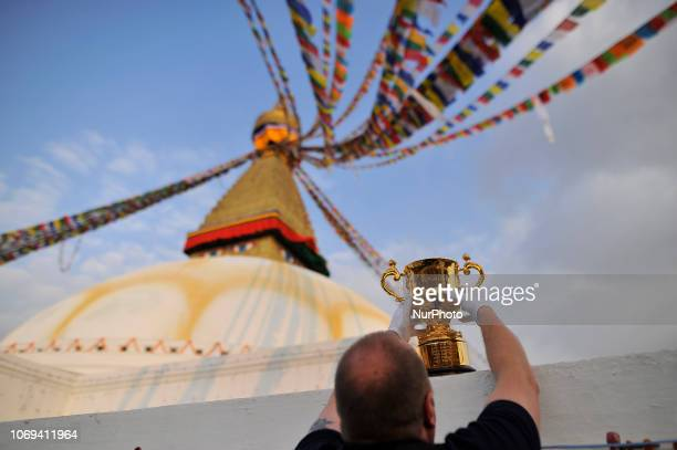 Official arranging the Webb Elllis Rugby World Cup 2019 Trophy infront Boudhanath Stupa UNESCO World heritages site during a country tour in...