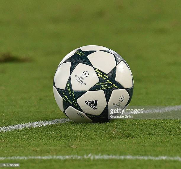 Official ball of Adidas during the UEFA Champions League qualifying playoffs match between FC Porto and AS Roma on August 23 2016 in Rome Italy