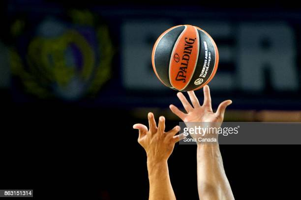 Official ball of Euroleague during the 2017/2018 Turkish Airlines Euroleague Regular Season Round 2 game between Real Madrid and CSKA Moscow at...